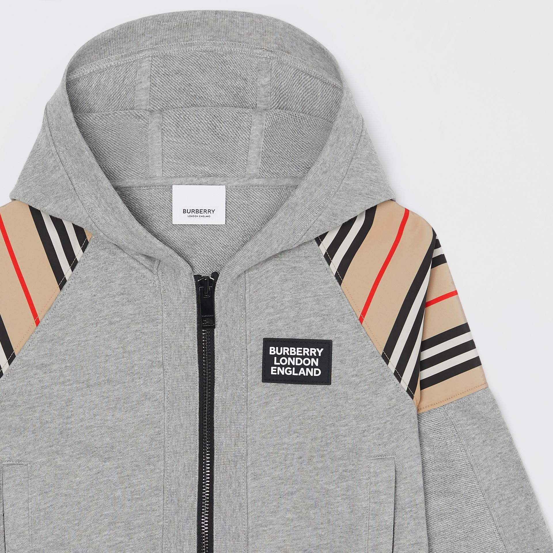 Icon Stripe Panel Cotton Hooded Top in Grey Melange | Burberry United Kingdom - gallery image 3