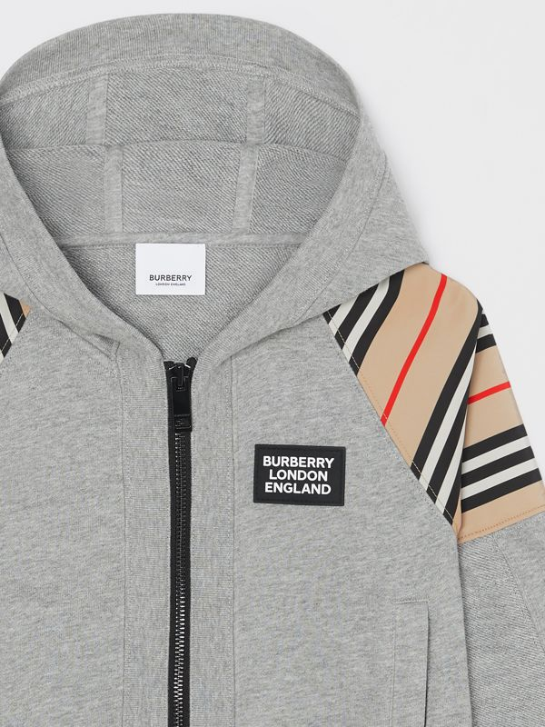 Icon Stripe Panel Cotton Hooded Top in Grey Melange | Burberry United Kingdom - cell image 3