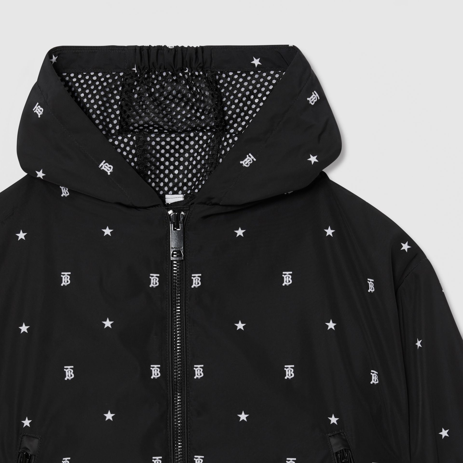 Star and Monogram Motif Lightweight Hooded Jacket in Black | Burberry - gallery image 5