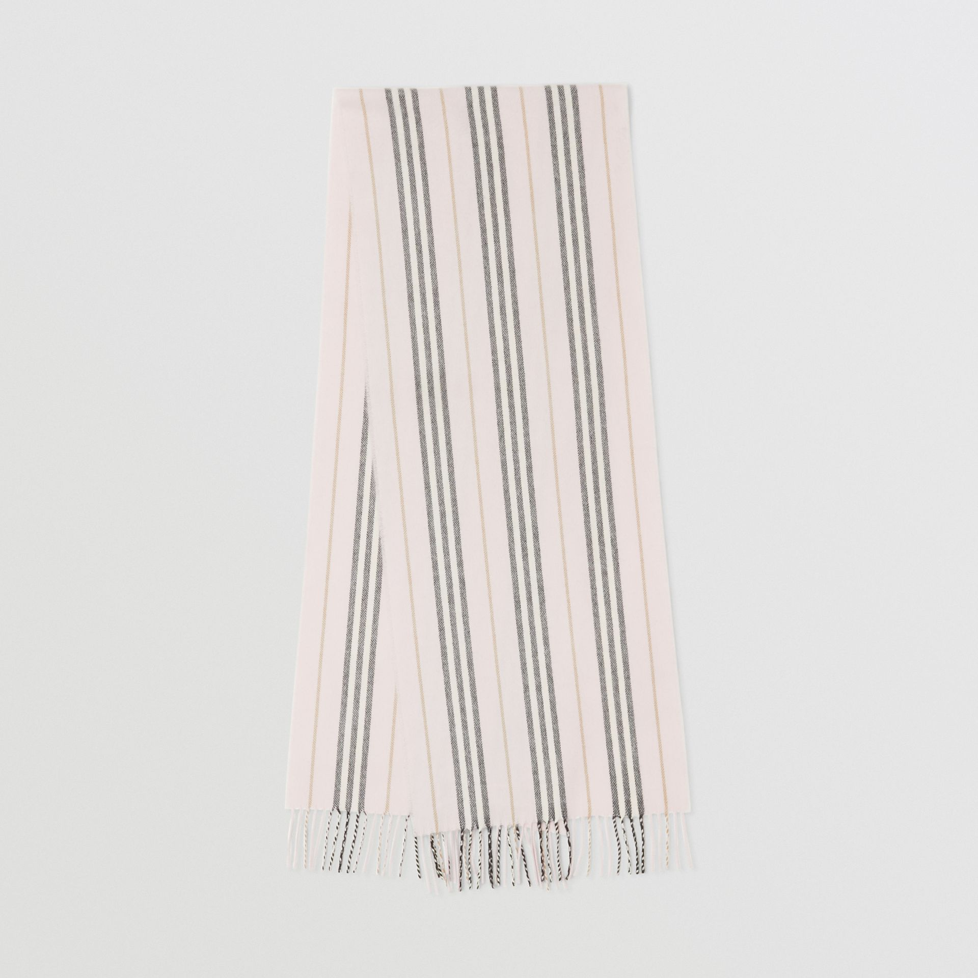 Icon Stripe Cashmere Merino Wool Scarf in Alabaster | Burberry - gallery image 0