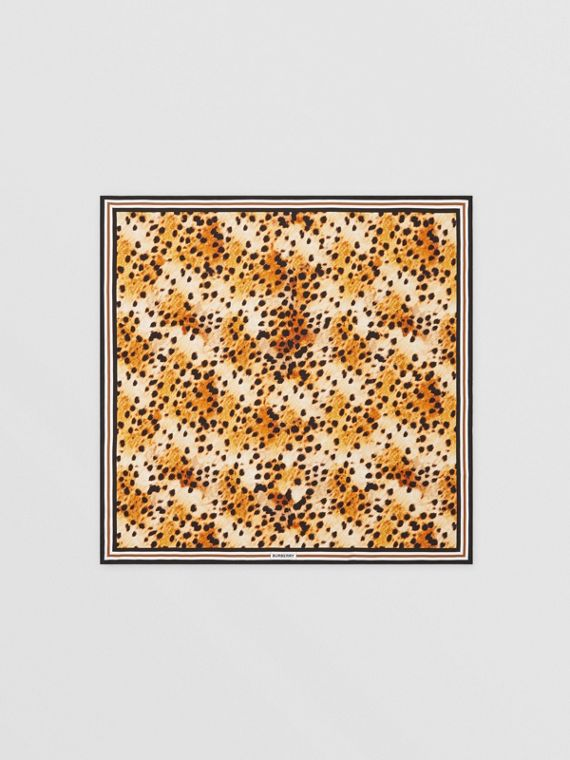 Spotted Monkey Print Silk Square Scarf in Nutmeg