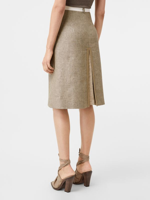 Contrast Seam and Box-pleat Detail Linen A-line Skirt in Cedar Brown Melange - Women | Burberry - cell image 2