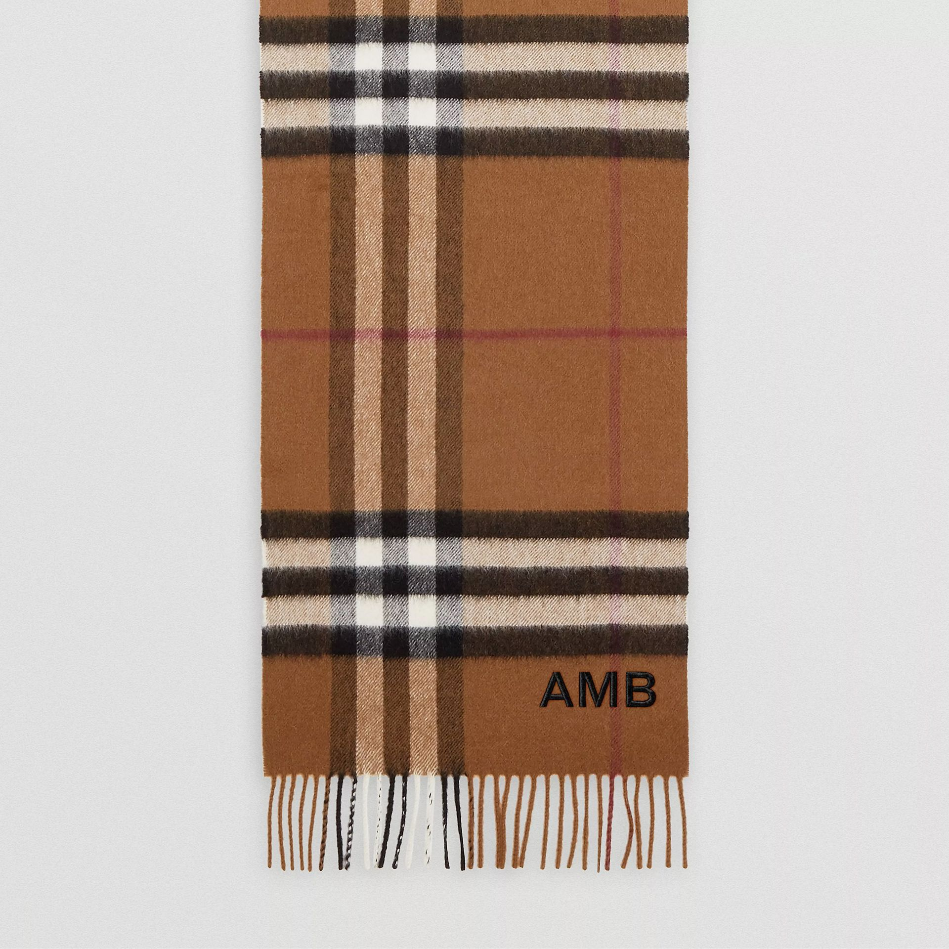 The Classic Check Cashmere Scarf in Birch Brown   Burberry - gallery image 8