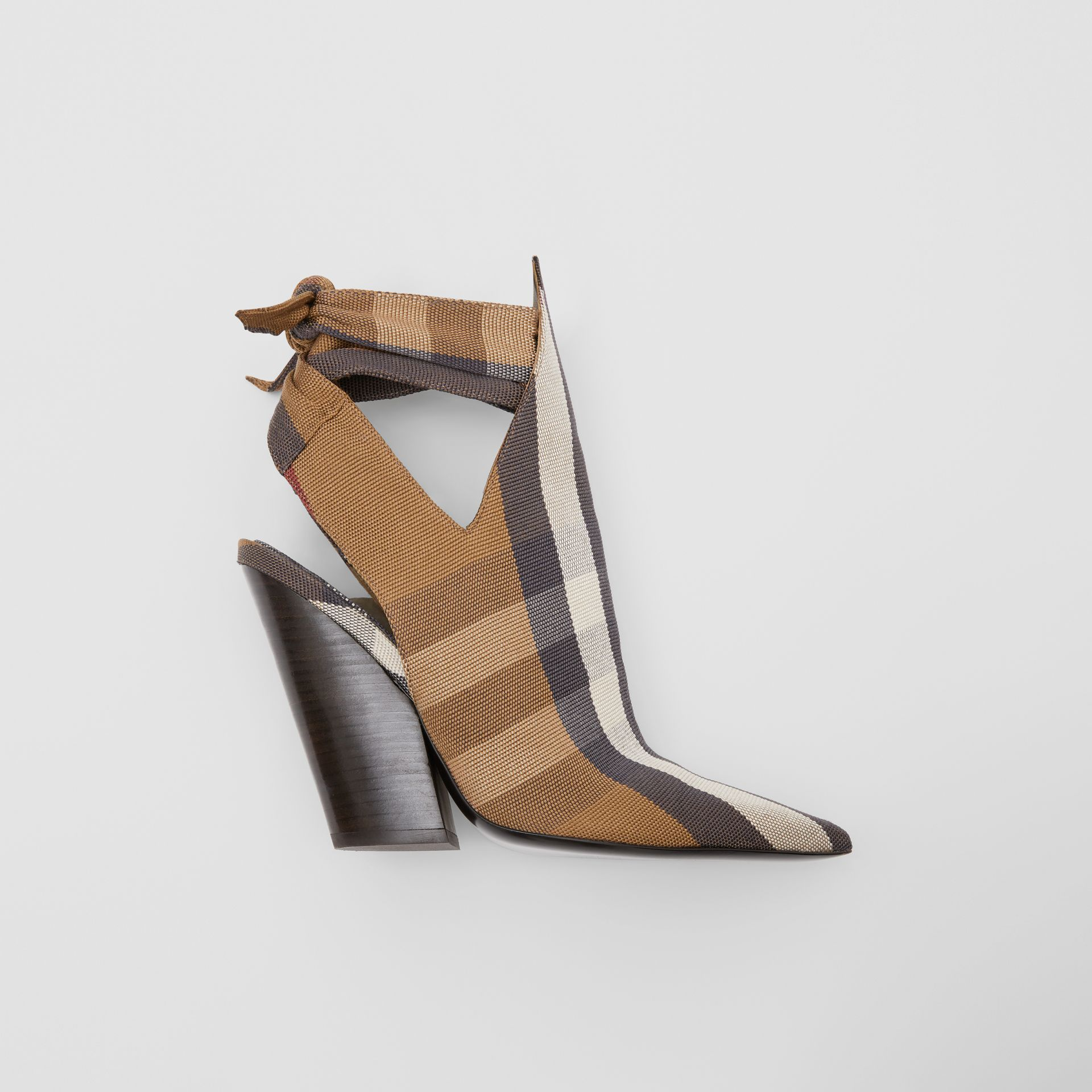 Tie Detail Check Technical Cotton Point-toe Mules in Birch Brown - Women | Burberry - gallery image 0