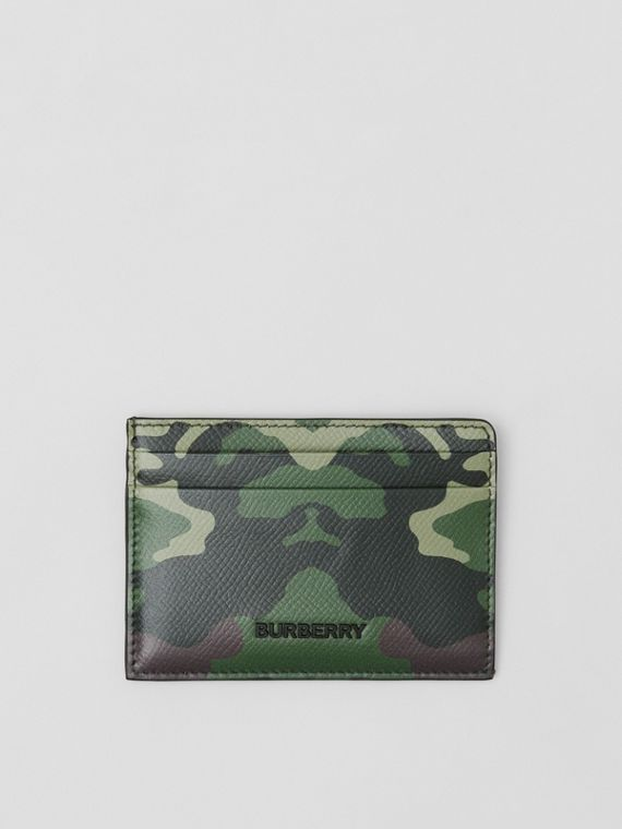Camouflage Print Leather Card Case in Mangrove Green