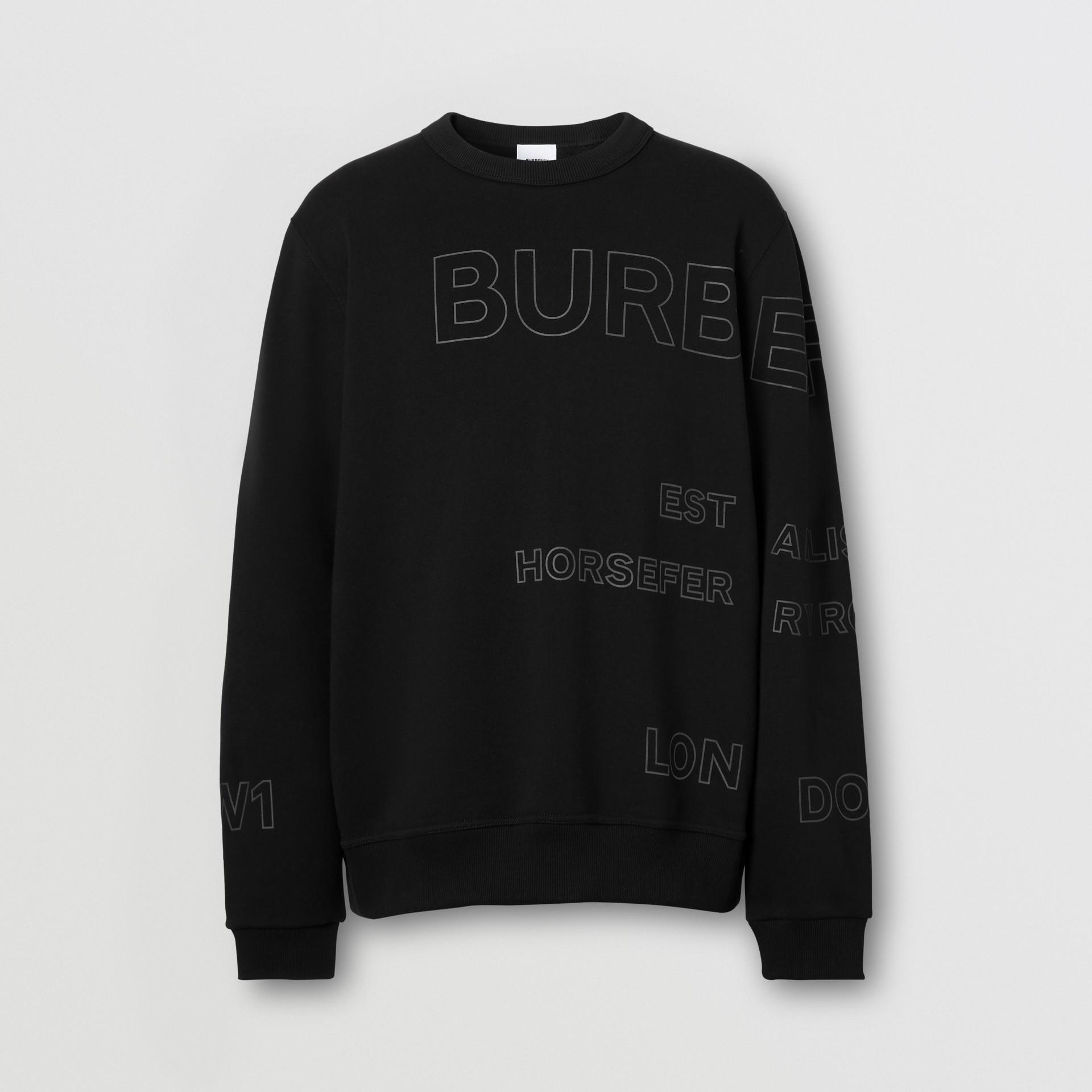 Suéter de algodão com estampa Horseferry (Preto) - Homens | Burberry - galeria de imagens 3