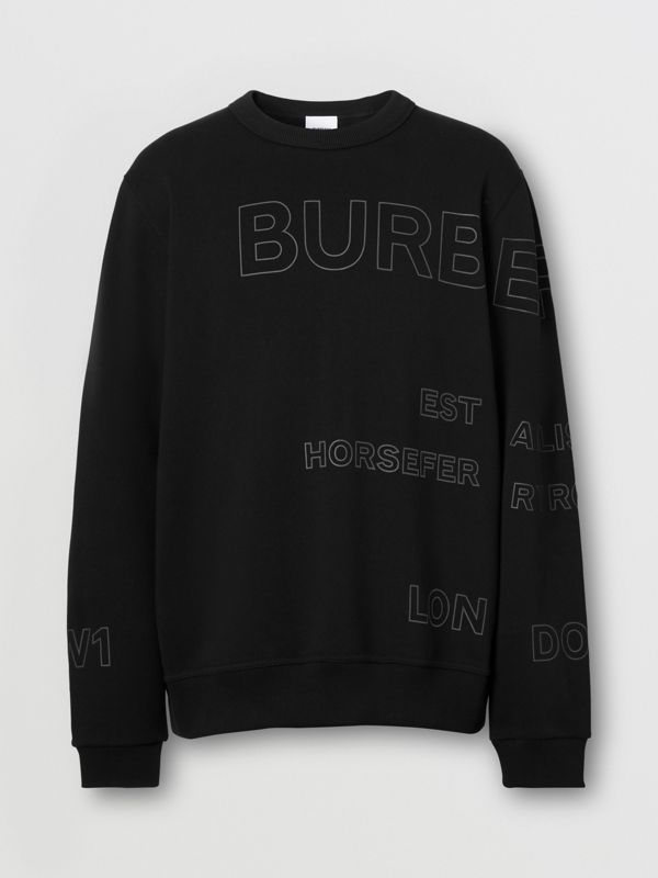 Horseferry Print Cotton Sweatshirt in Black - Men | Burberry - cell image 3