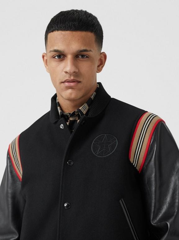 Icon Stripe Trim Wool Felt and Leather Bomber Jacket | Burberry United Kingdom - cell image 1