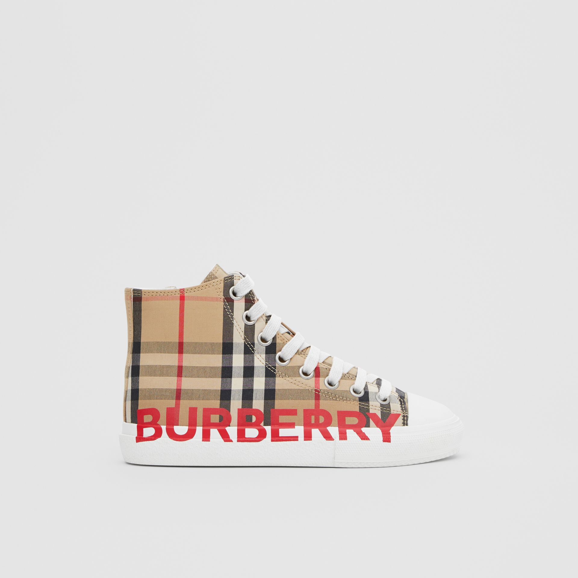 Logo Print Vintage Check High-top Sneakers in Archive Beige - Children | Burberry - gallery image 3