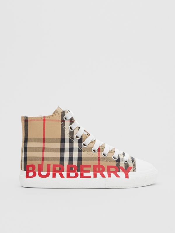 Logo Print Vintage Check High-top Sneakers in Archive Beige - Children | Burberry - cell image 3