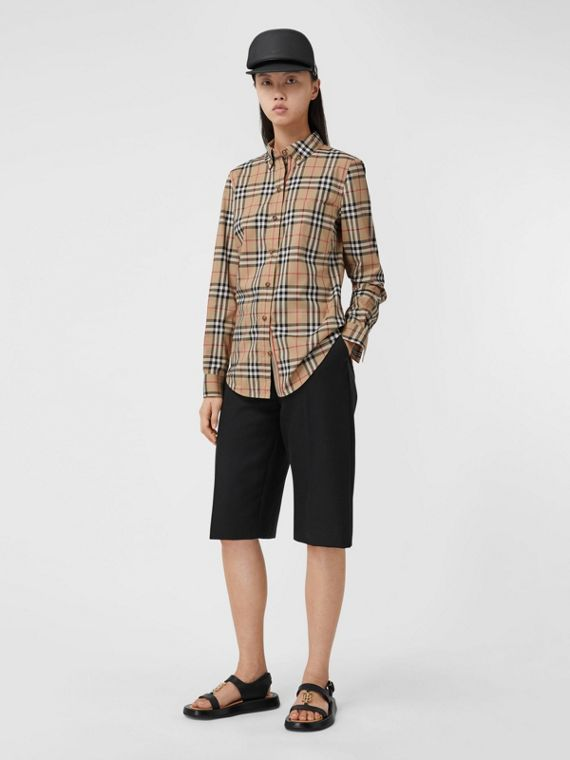 Button-down Collar Vintage Check Stretch Cotton Shirt in Archive Beige