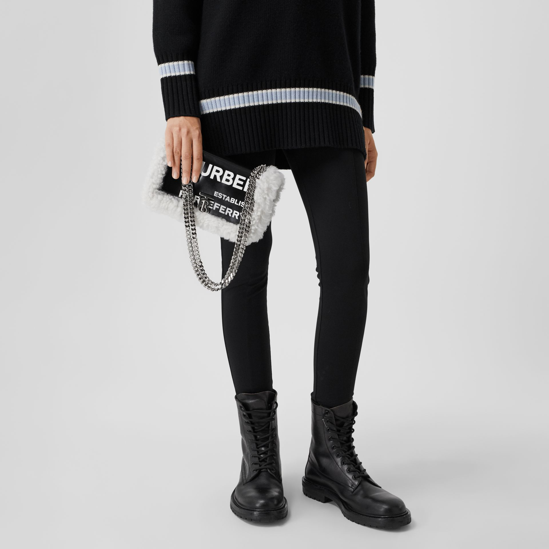 Small Horseferry Print Coated Canvas and Shearling Lola Bag in Black - Women | Burberry United Kingdom - gallery image 9