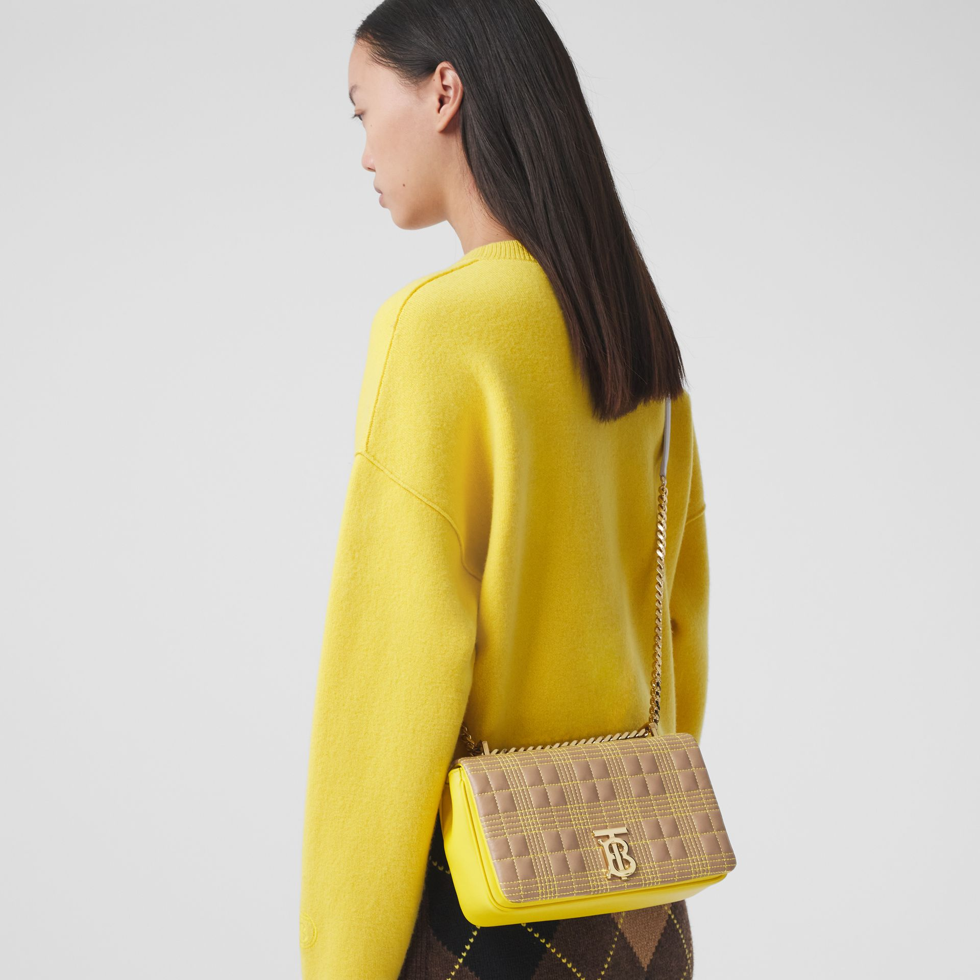 Small Quilted Tri-tone Lambskin Lola Bag in Camel/yellow - Women | Burberry Canada - gallery image 9