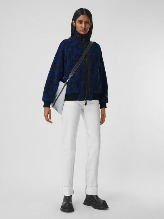 Monogram Fleece Jacquard Jacket in Navy