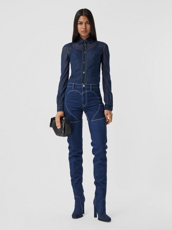 Button-down Collar Sheer Stretch Jersey Shirt in Dark Carbon Blue