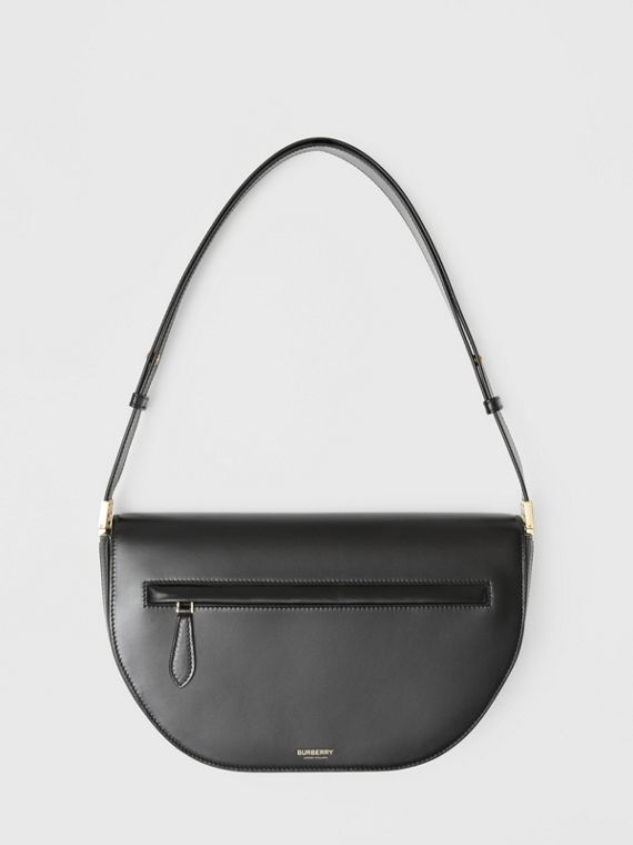 Medium Leather Olympia Bag in Black