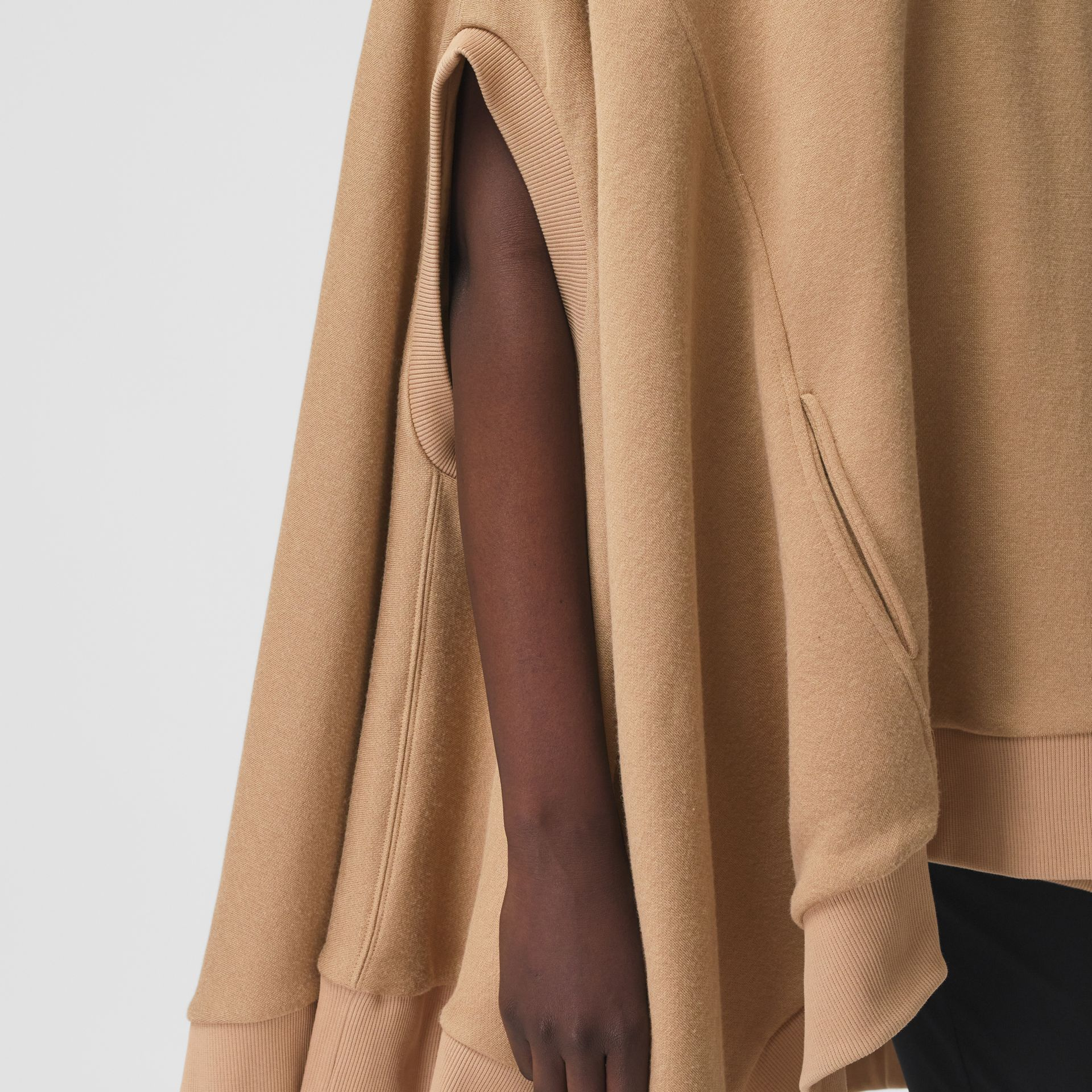 Cut-out Sleeve Jersey Hooded Cape in Camel - Women | Burberry Canada - gallery image 3