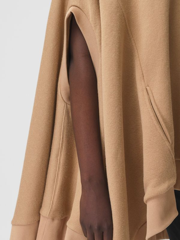 Cut-out Sleeve Jersey Hooded Cape in Camel - Women | Burberry Canada - cell image 3