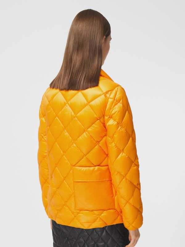 Diamond Quilted Down-filled Jacket in Citrus Orange - Women | Burberry - cell image 2