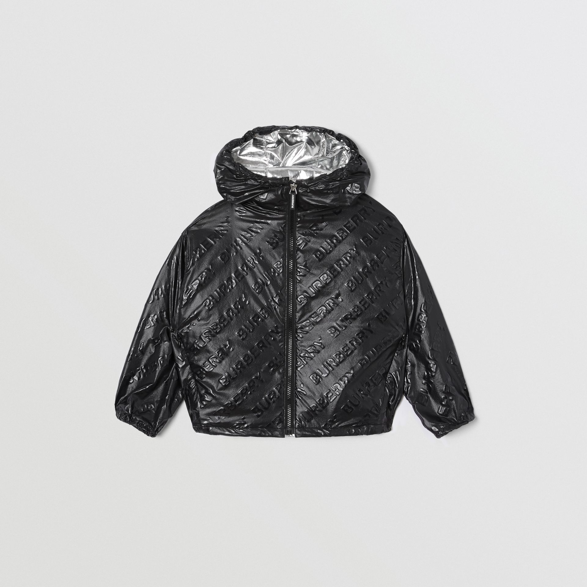Logo Print Lightweight Hooded Jacket in Black | Burberry Hong Kong S.A.R - gallery image 0