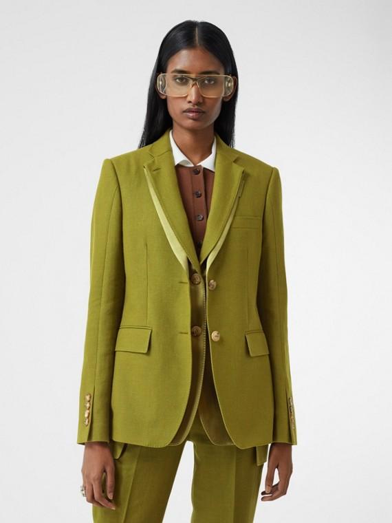 Veste tailleur en laine, ramie et satin de soie (Vert Genévrier)