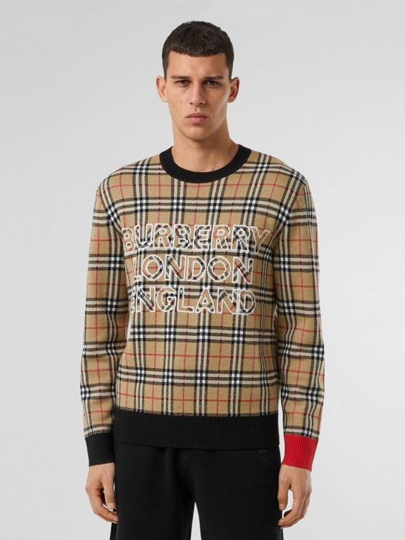 Logo Check Wool Cotton Jacquard Sweater in Archive Beige