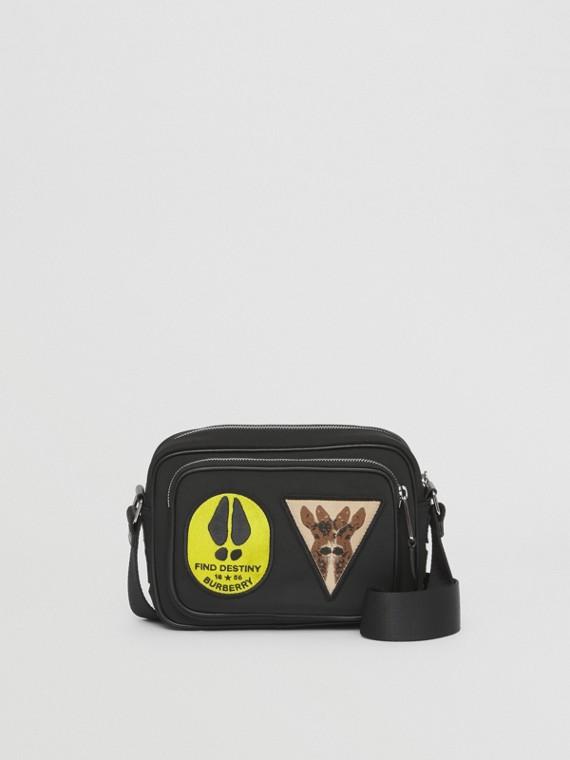 Badge Appliqué Nylon Crossbody Bag in Black