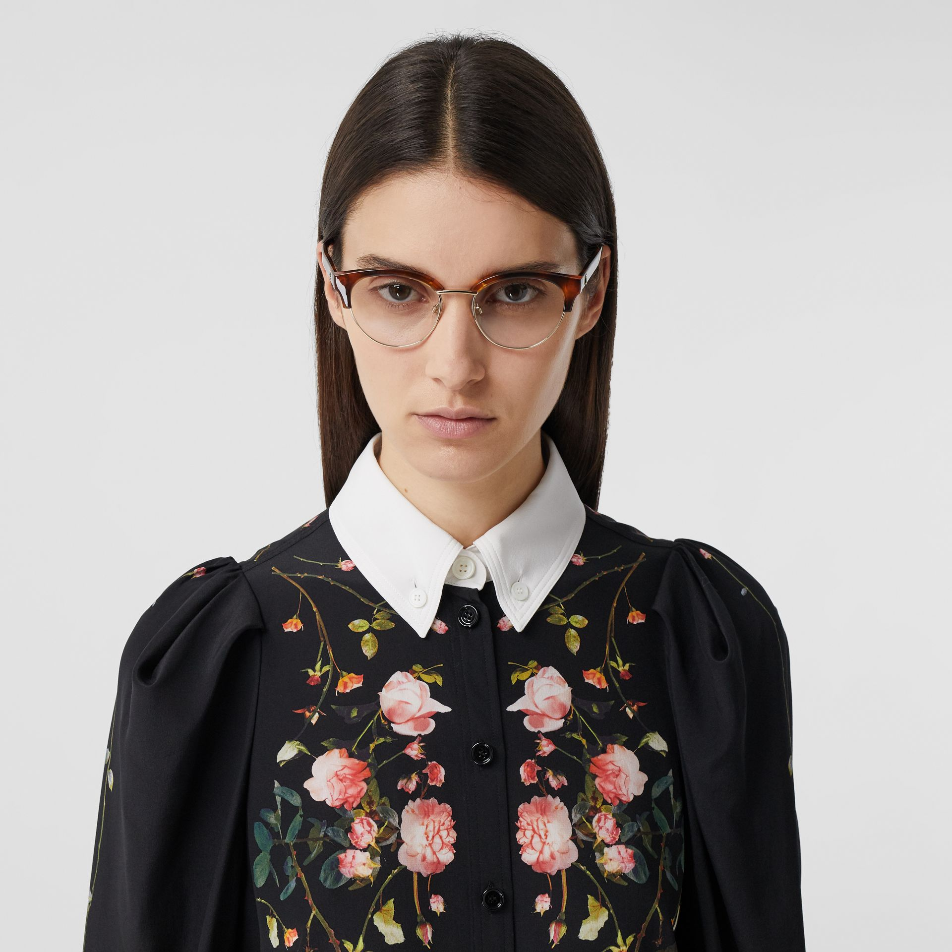 Rose Print Silk Crepe De Chine Shirt Dress in Black - Women | Burberry - gallery image 1