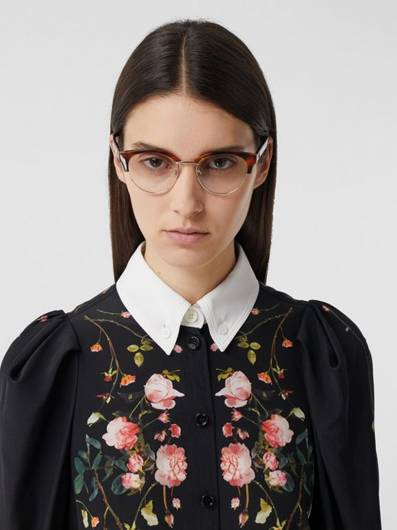 Rose Print Silk Crepe De Chine Shirt Dress in Black - Women | Burberry - cell image 1