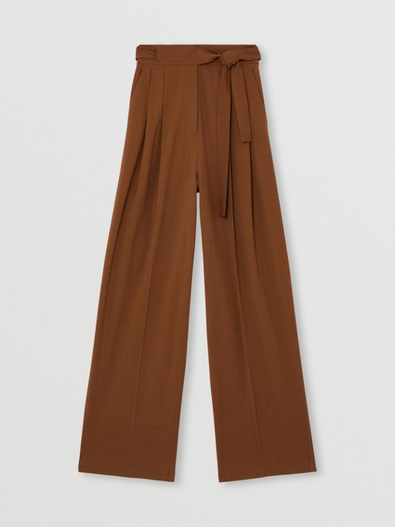 Viscose Wool Wide-leg Tailored Trousers in Warm Walnut