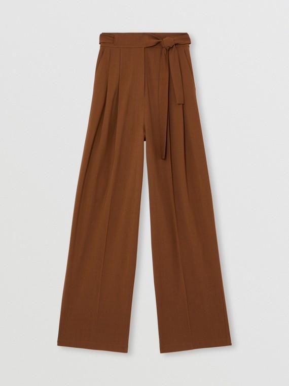 Calças de alfaiataria estilo pantalona de lã e viscose (Avelã Intenso)