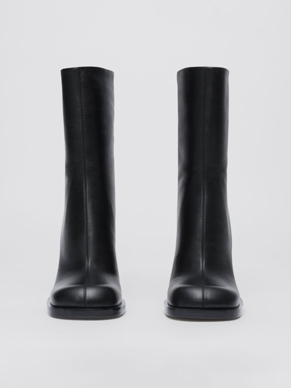 Vintage Check-lined Leather Ankle Boots in Black - Women | Burberry - cell image 3