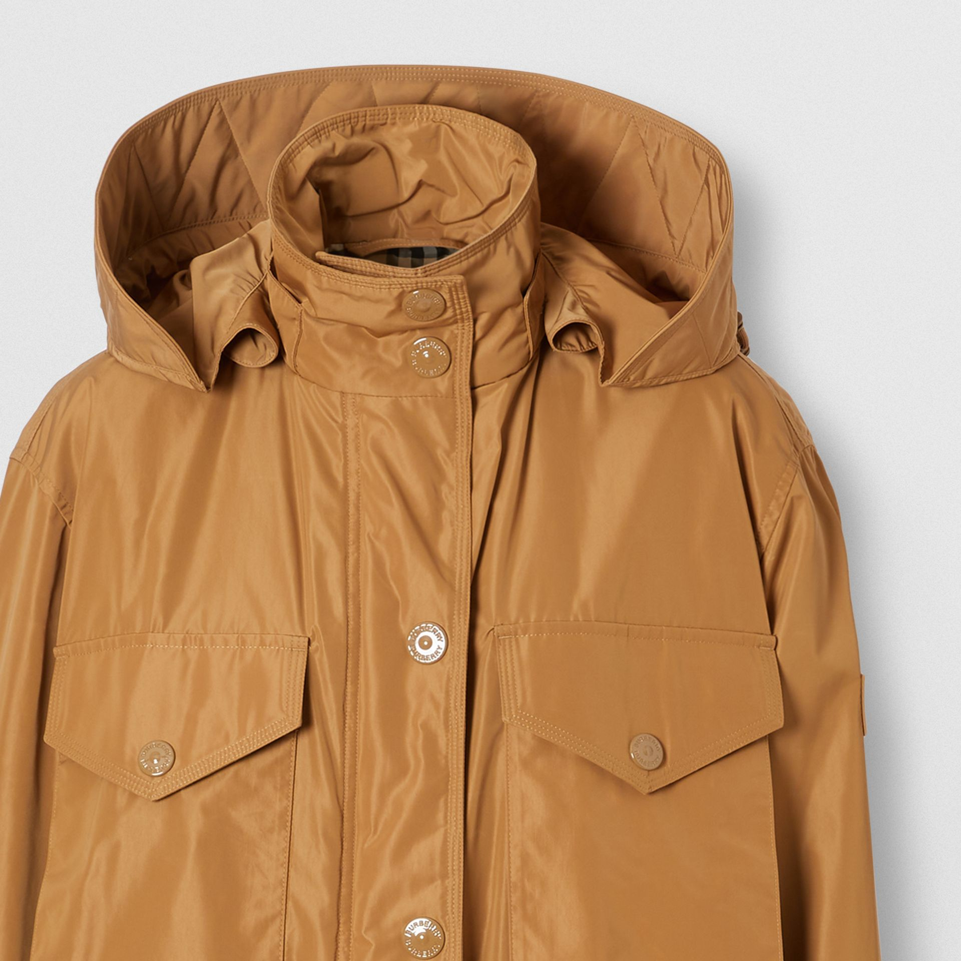 Detachable Hood Shape-memory Taffeta Parka in Camel - Women | Burberry - gallery image 7