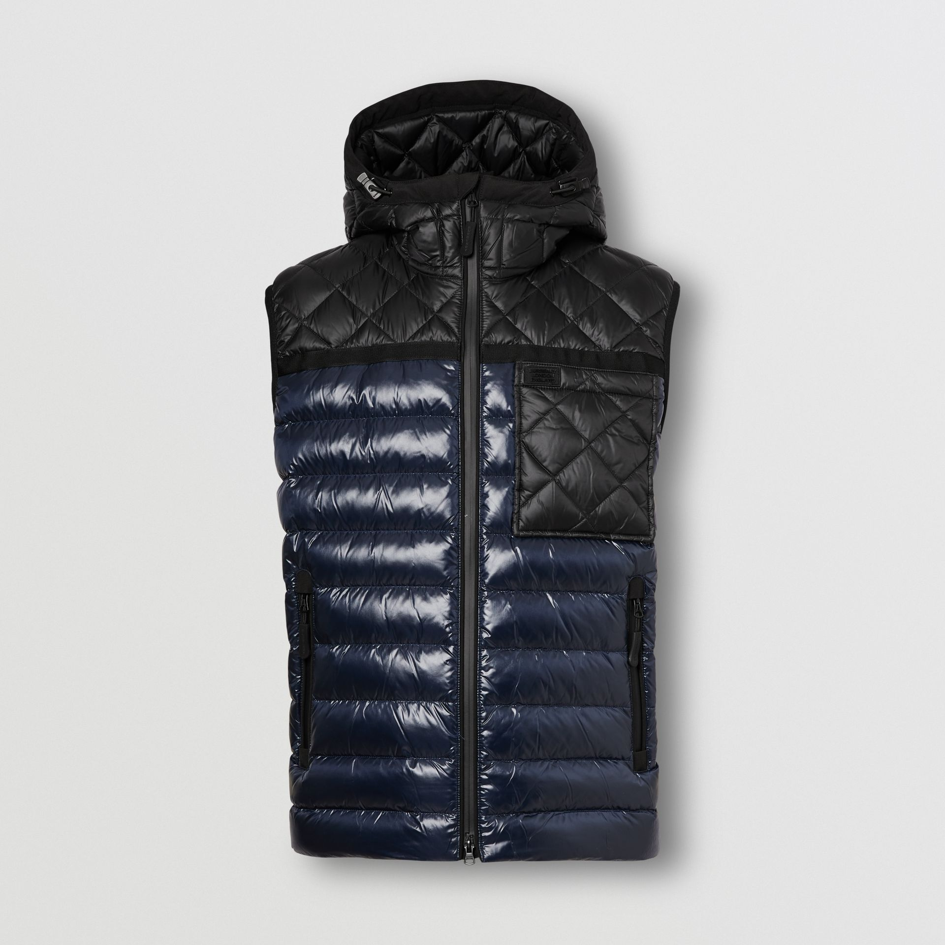 Diamond Quilted Panel Hooded Puffer Gilet in Midnight - Men | Burberry - gallery image 3