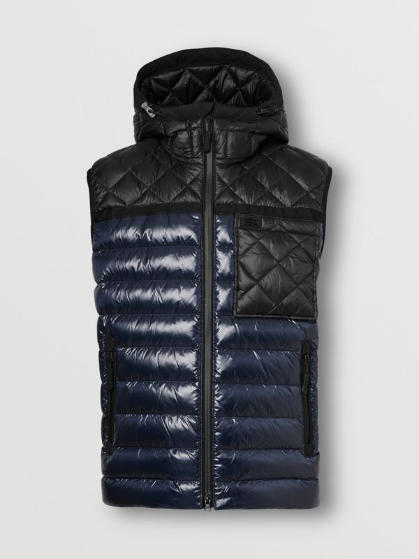 Diamond Quilted Panel Hooded Puffer Gilet in Midnight - Men | Burberry - cell image 3