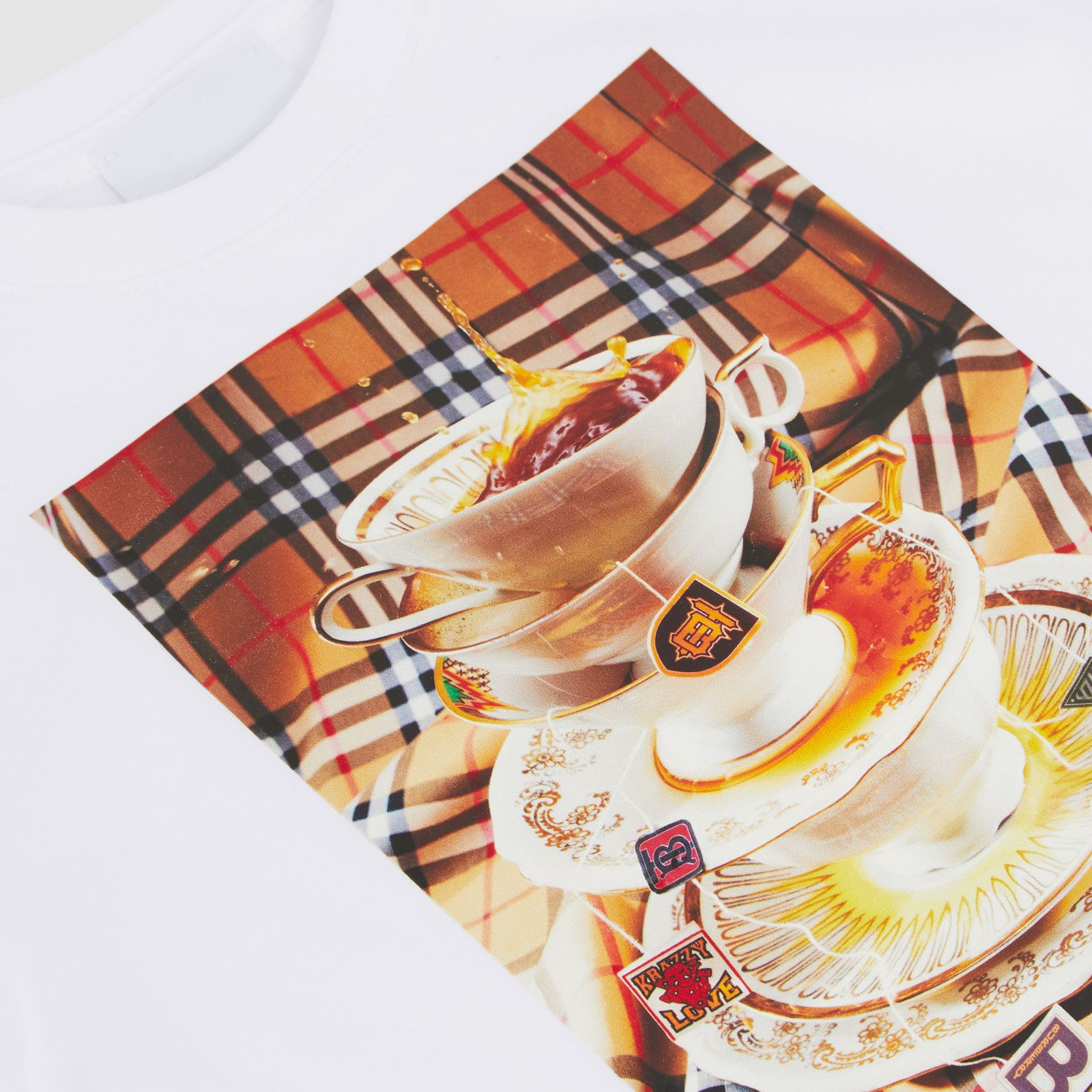 Teacup Print T-shirt in Multicolour - Children | Burberry - gallery image 1