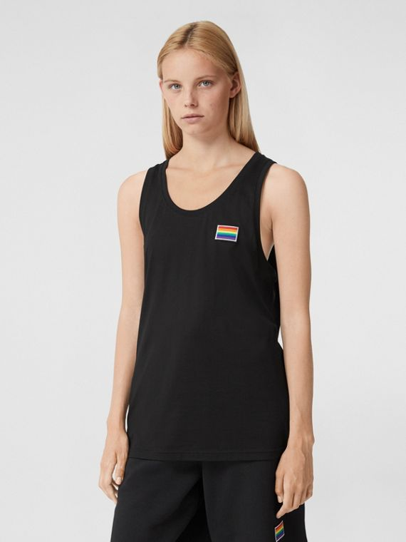 Rainbow Appliqué Cotton Vest – Unisex in Black