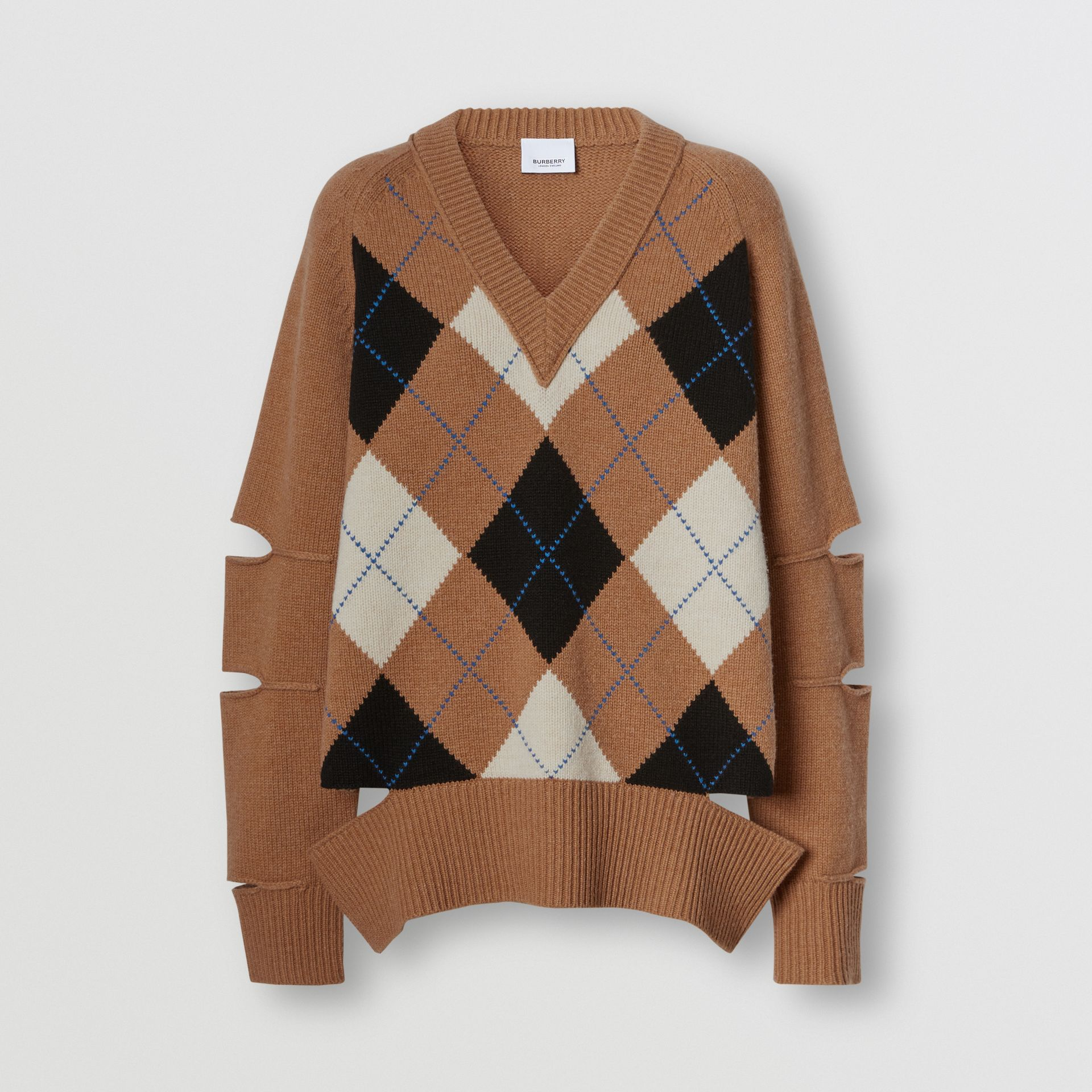 Cut-out Detail Argyle Intarsia Wool Cashmere Sweater in Camel - Women | Burberry - gallery image 3