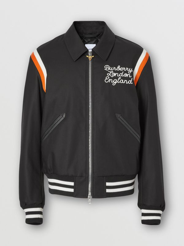 Embroidered Logo Cotton Gabardine Bomber Jacket in Black - Men | Burberry - cell image 3