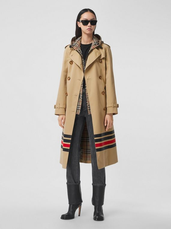 Trench coat in gabardine di cotone con dettaglio a righe (Miele)