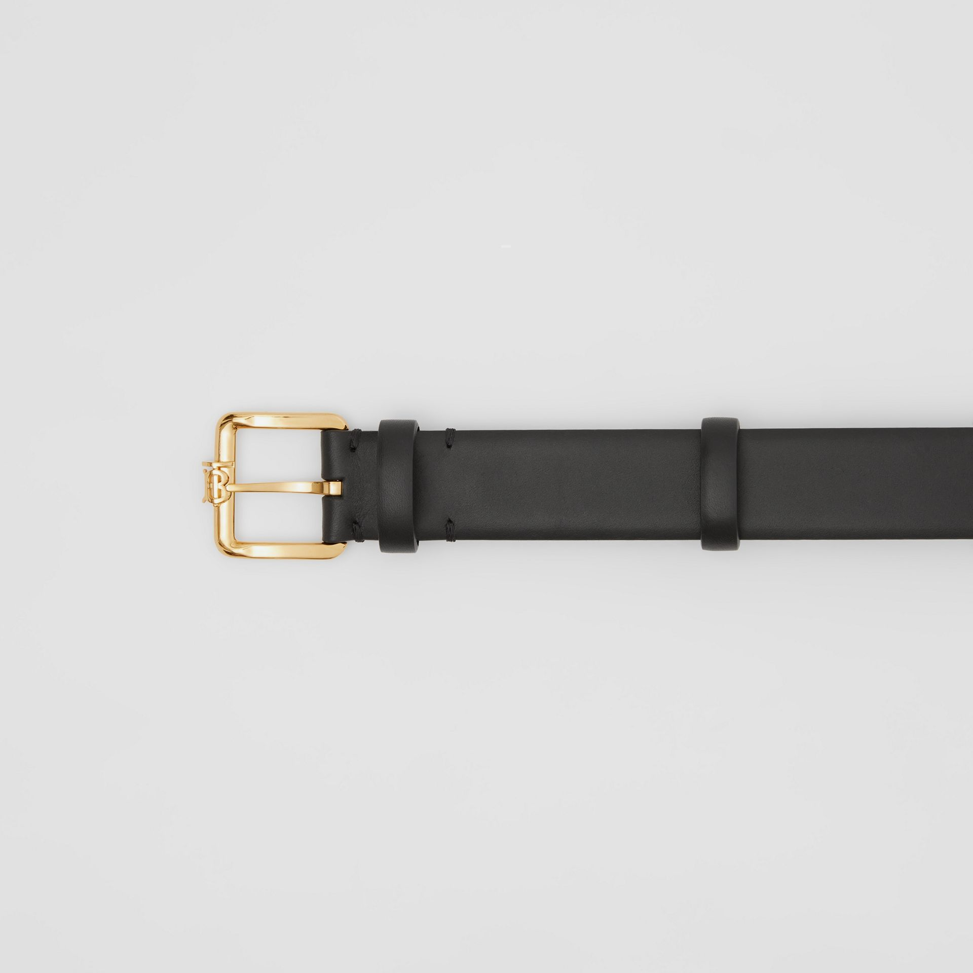 Monogram Motif Leather Belt in Black - Women | Burberry - gallery image 1