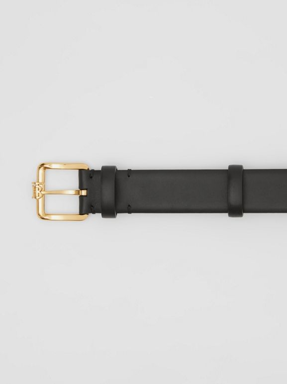 Monogram Motif Leather Belt in Black - Women | Burberry - cell image 1