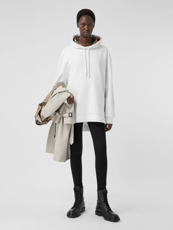 Stepped Hem Cotton Oversized Hoodie in White