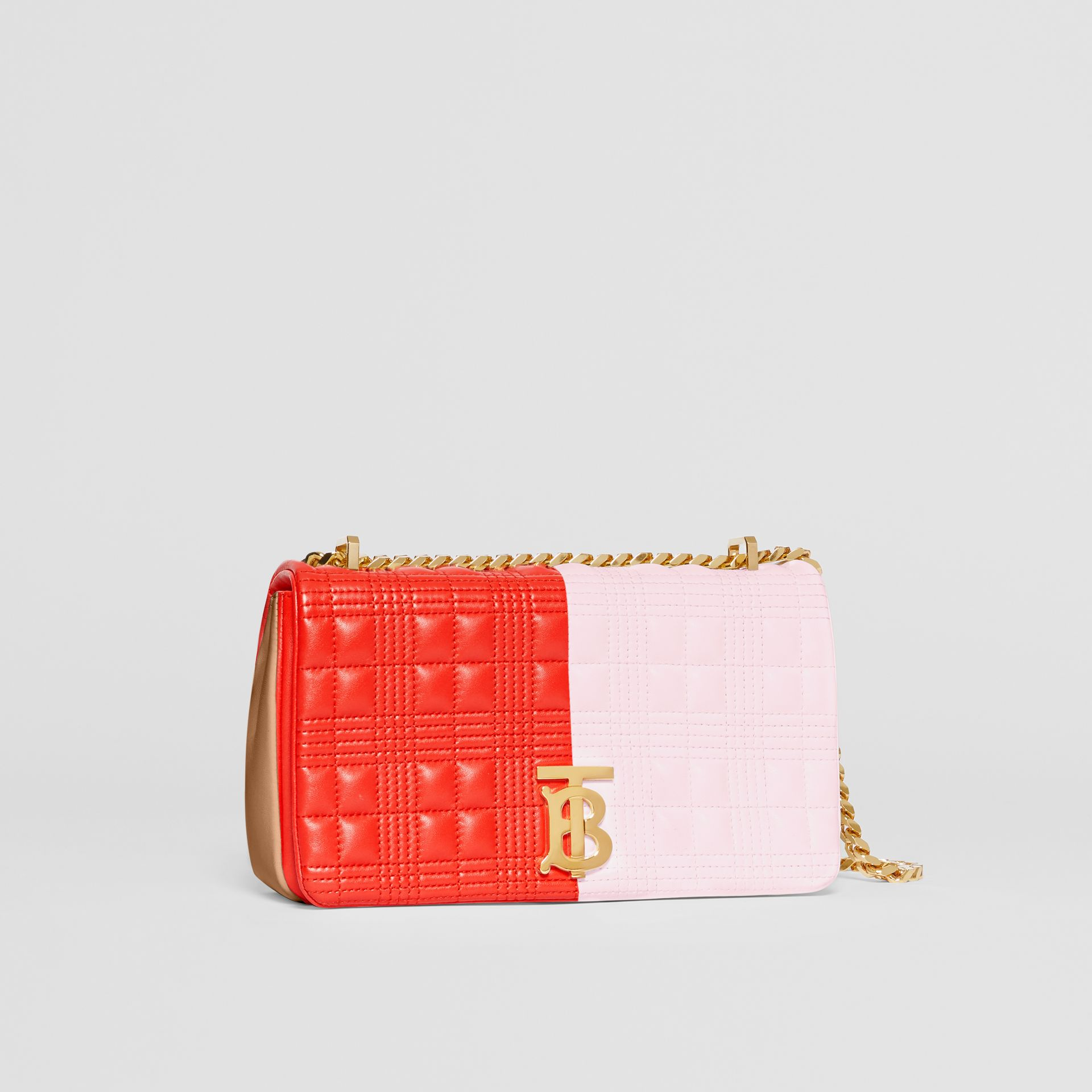 Small Quilted Tri-tone Lambskin Lola Bag in Red/pink/camel - Women | Burberry - gallery image 4