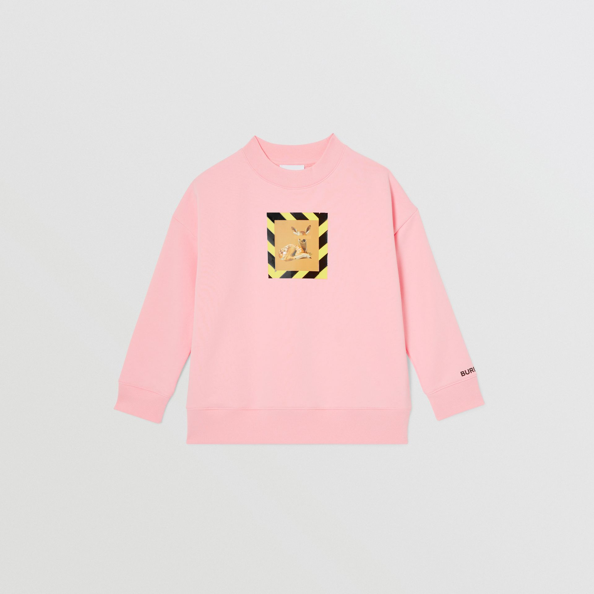 Deer Print Cotton Sweatshirt in Candy Pink | Burberry - gallery image 0