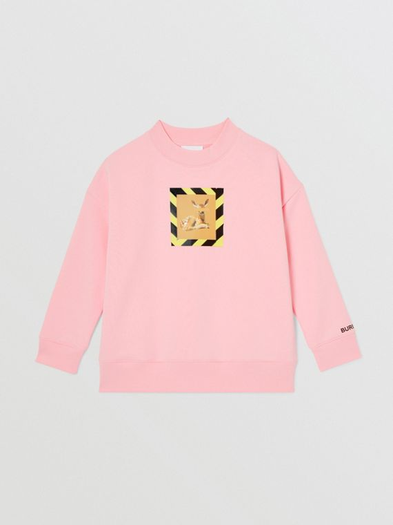Deer Print Cotton Sweatshirt in Candy Pink