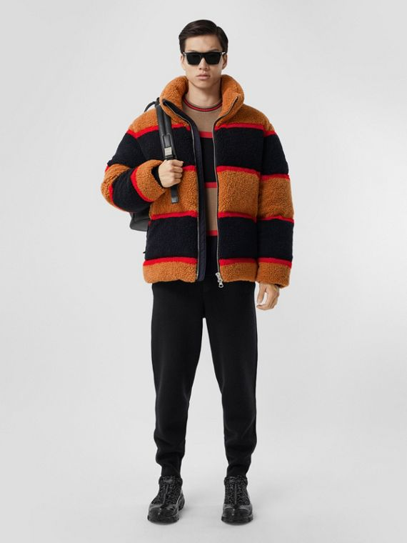 Colour Block Fleece Jacquard Puffer Jacket in Camel