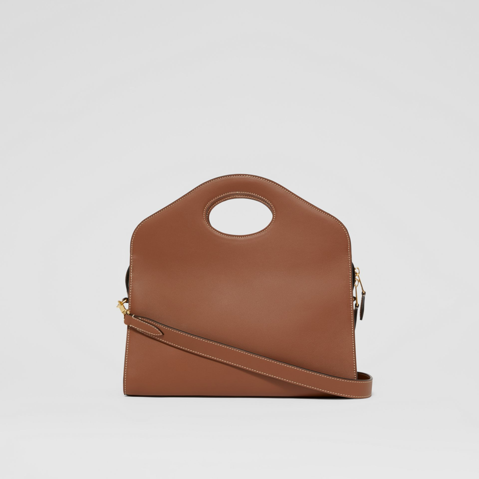Small Topstitched Leather Pocket Tote in Malt Brown - Women | Burberry - gallery image 7