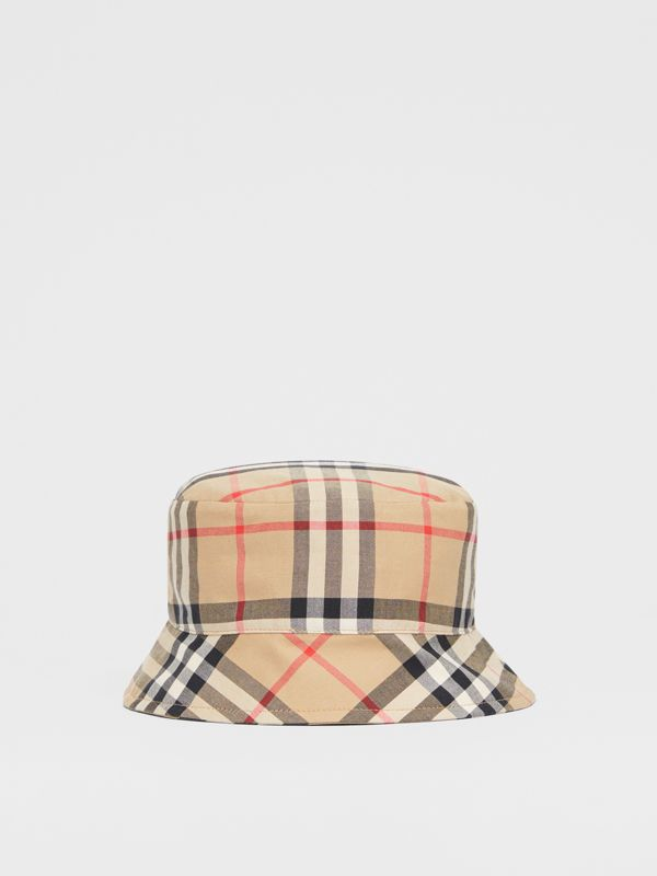 Reversible Vintage Check and Icon Stripe Bucket Hat in Archive Beige - Children | Burberry United Kingdom - cell image 3