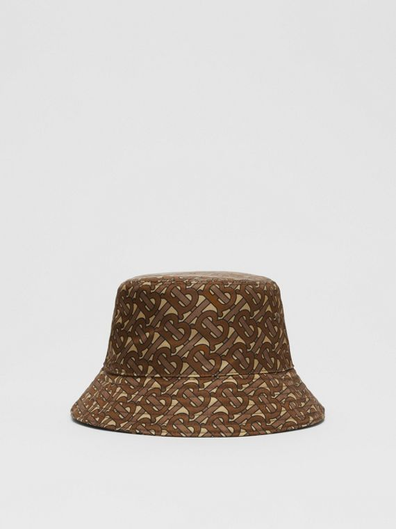 Monogram Print ECONYL® Bucket Hat in Bridle Brown